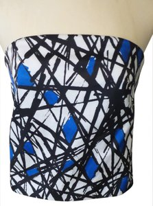 MILLY Top Cobalt Blue, Black & White