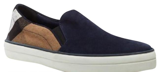 Item - Navy and Check Print Suede Slip On Sneakers Size US 7 Regular (M, B)