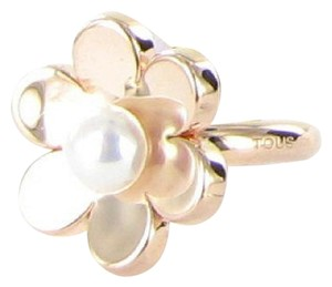 TOUS Tous Vermeil Pink Happy Moments Pearl Flower Ring Sterling 925 Size 7