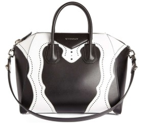Givenchy Antigona Tote Leather Shoulder Satchel in Black and White