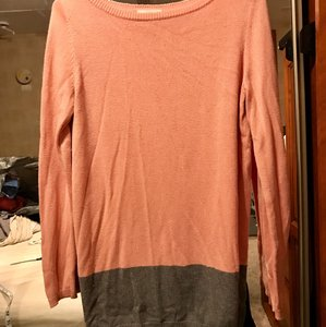 Ann Taylor LOFT Boat Neck Color-blocking Two-tone Classic Sweater