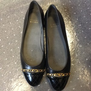 Stuart Weitzman Black with gold accent Flats