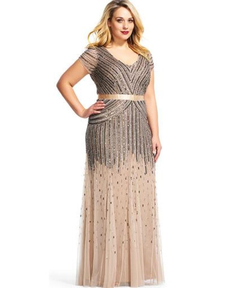 Adrianna Papell Black and Champagne 09286895 Long Formal Dress Size ...