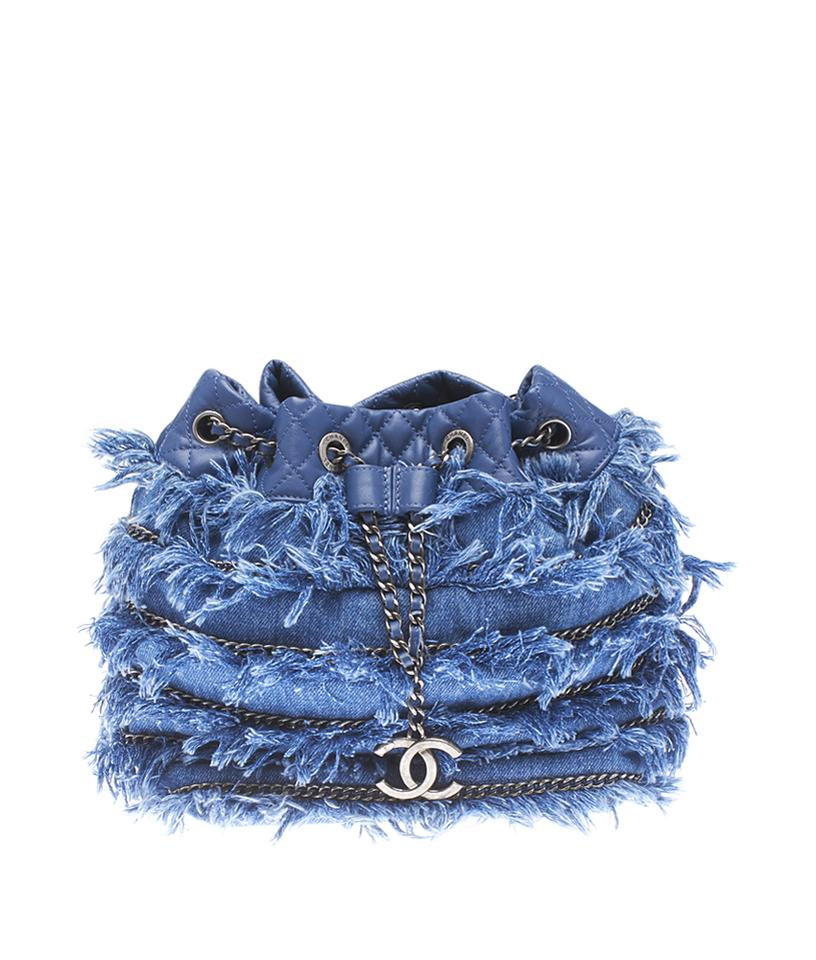 Chanel Quilted Chain Around Crossbody (114336) Blue Leather Denim ... 7479937092