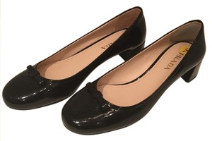Prada Patent Low Heel Bow Leather Black Flats