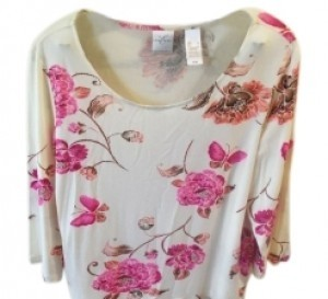 Emma James Top Cream with magenta flowers