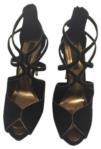 BCBGMAXAZRIA Black With Gold Platforms