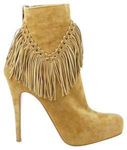 Christian Louboutin Rom 38 Fringe Suede Coachella Brown Boots