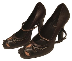 Fendi Mary-jane Embroidered Floral Print Brown Pumps