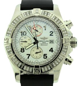 Rolex MEN'S BREITLING SUPER AVENGER A13370 3CT S/S WATCH WITH RUBBER BAND
