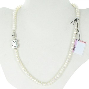 TOUS Tous Silver Sweet Dolls Necklace 6mm Pearls Sterling Bear Motif 16
