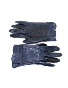 Chanel Chanel Navy Leather Gloves sz 7.75