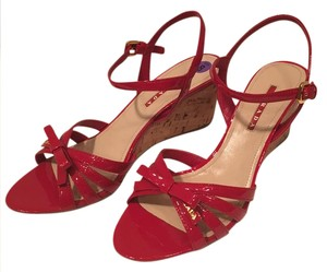 Prada Wedge Patent Cork Wedge Red Sandals