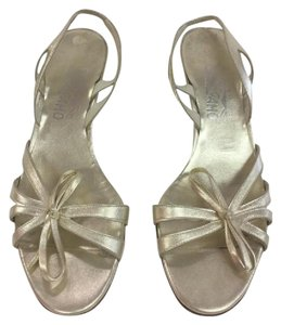 Salvatore Ferragamo Metallic Italian Leather Bow gold Formal