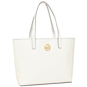 MICHAEL Michael Kors Saffiano Leather Jet Set Travel Tote in OPTIC WHITE