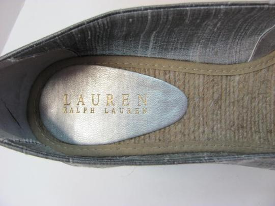 Ralph Lauren Size 9 Medium Very Good Condition SILVER/GRAY Wedges