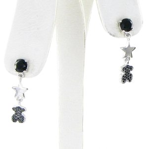 TOUS Tous Silver Join Drop Earrings Black Onyx Spinels Bear Sterling