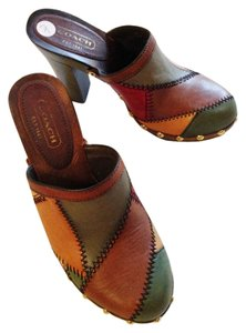 Coach Vintage Hippie Boho Platform tan,brown,green,red-multi Mules