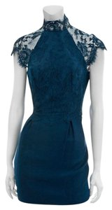 Lover Lace Inverted Pleats Scalloped Faille High Neck Dress