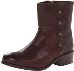 Frye Distressed Button Side Dark Brown Boots