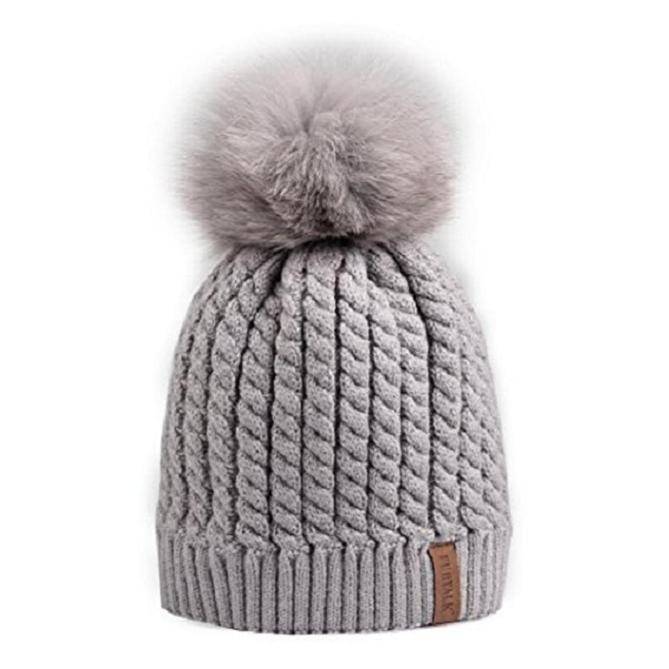 Well-liked Gray Chic Knit Beanie Winter with Genuine Fox Fur Pom Pom Hat  OP59
