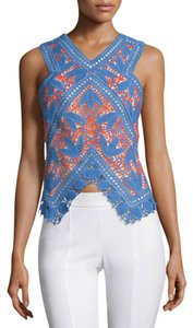 Tory Burch Evie Crochet Lace Top Blue