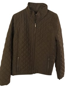 J.Crew Quilted Gold Zips green Jacket