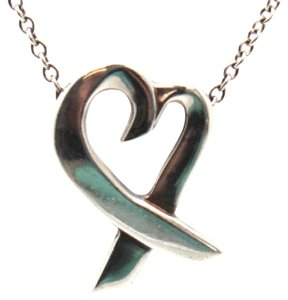 Tiffany & Co. #10814 Open heart ribbon shape Necklace with Chain 925 silver