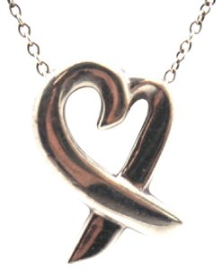 Tiffany & Co. #10816 Open heart ribbon shape Necklace with Chain 925 silver