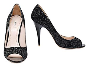 Miu Miu Sparkle Celebration Patent Black Sequin Pumps