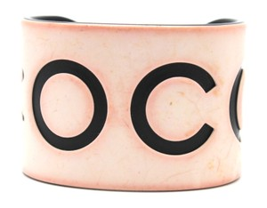 Chanel #10818 White Black CC COCO Cuff Bracelet Bangle