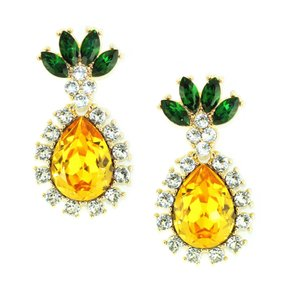 Kristin Perry Swarovski Crystal Rhinestone Pineapple Drop Earrings
