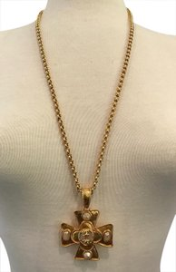 Chanel CHANEL GOLD CROSS PENDANT WITH PEARLS, CRYSTALS & CC LOGOS, 29