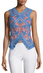 Tory Burch Evie Crochet Lace Top Blue - item med img