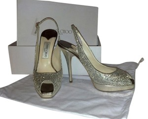 Jimmy Choo Bridal Glitter Designer Glitter Pumps Wedding Worn Once Champagne Formal