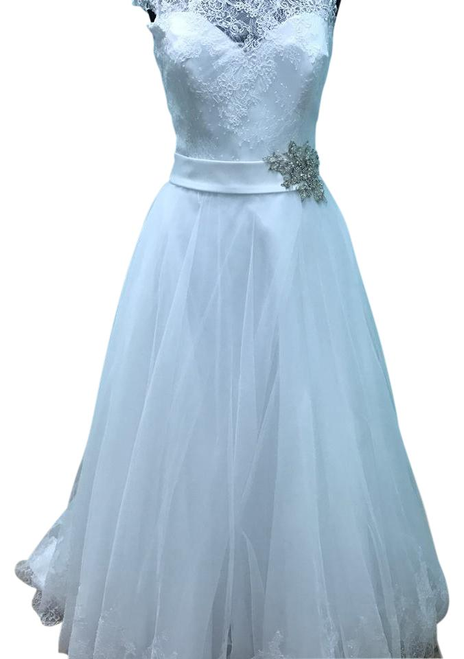 Mori Lee White Lace and Tulle 2607 Modest Wedding Dress Size 12 (L ...