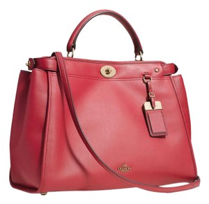 Coach Crossbody Red Satchel in Redcurrant