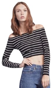 Reformation Crop Off The Model Stripe Los Angeles Top Black & White