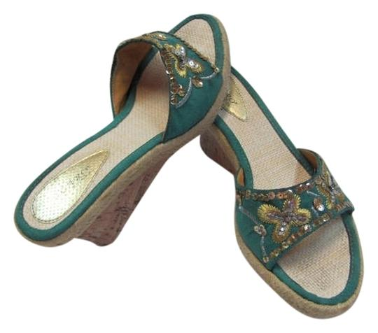 OLARO Size 10 Very Condition GREENISH/AQUA, GOLD, SILVER Wedges