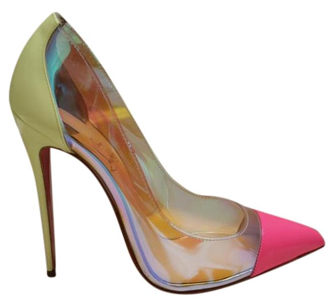 Item - Pink/Yellow Debout 120mm Pumps Size US 7.5 Narrow (Aa, N)