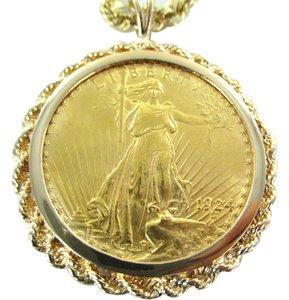 Other 22KT YELLOW GOLD COIN 1924 PENDANT SAINT GUADENS BULLION 14K GOLD FRA