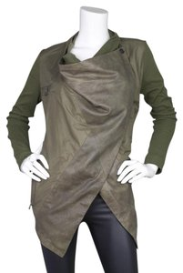 Yigal Azrouël Leather Silk Waterfall Olive Leather Jacket