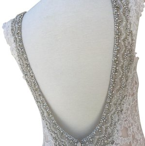Allure Bridals Champagne/Ivory Lace 9311 Modern Wedding Dress Size 14 (L)