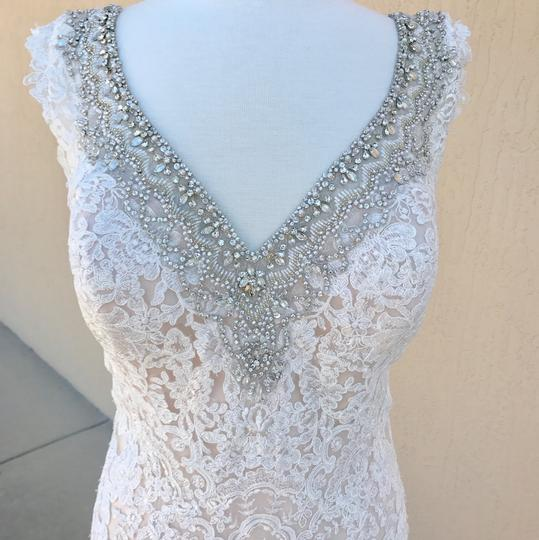 Allure Bridals Ivory Champagne Lace Silk 9311 Traditional Wedding Dress Size 14 (L) Image 1