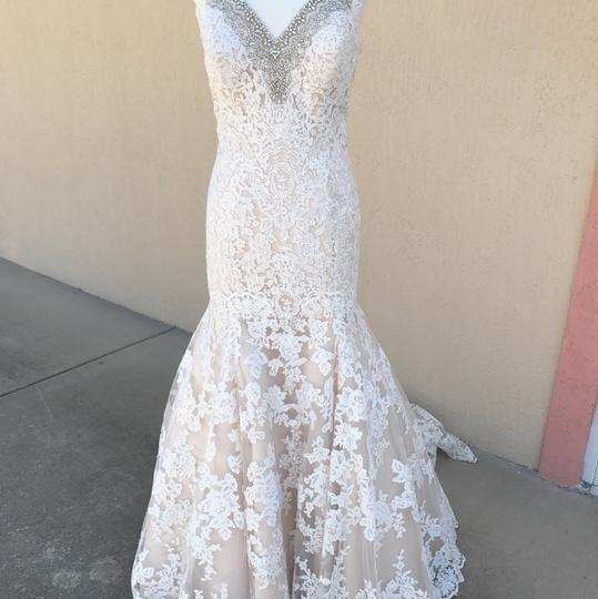 Allure Bridals Ivory Champagne Lace Silk 9311 Traditional Wedding Dress Size 14 (L) Image 2