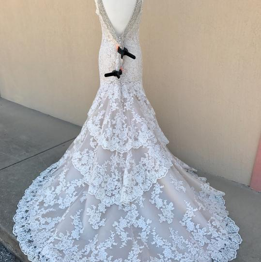 Allure Bridals Ivory Champagne Lace Silk 9311 Traditional Wedding Dress Size 14 (L) Image 3