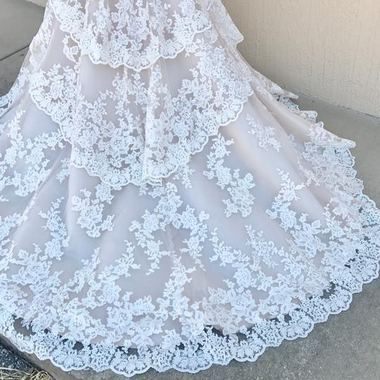 Allure Bridals Ivory Champagne Lace Silk 9311 Traditional Wedding Dress Size 14 (L) Image 4