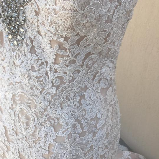 Allure Bridals Ivory Champagne Lace Silk 9311 Traditional Wedding Dress Size 14 (L) Image 6