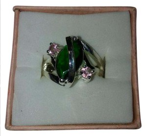 Other Size 6.5 Sterling Silver Ring With Pink and Green Stones