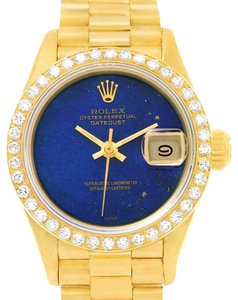 Rolex Rolex President Datejust Ladies Yellow Gold Lapis Diamond Watch 69178